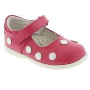 FootMates Dottie Mary Janes in Hot Pink/White Dots